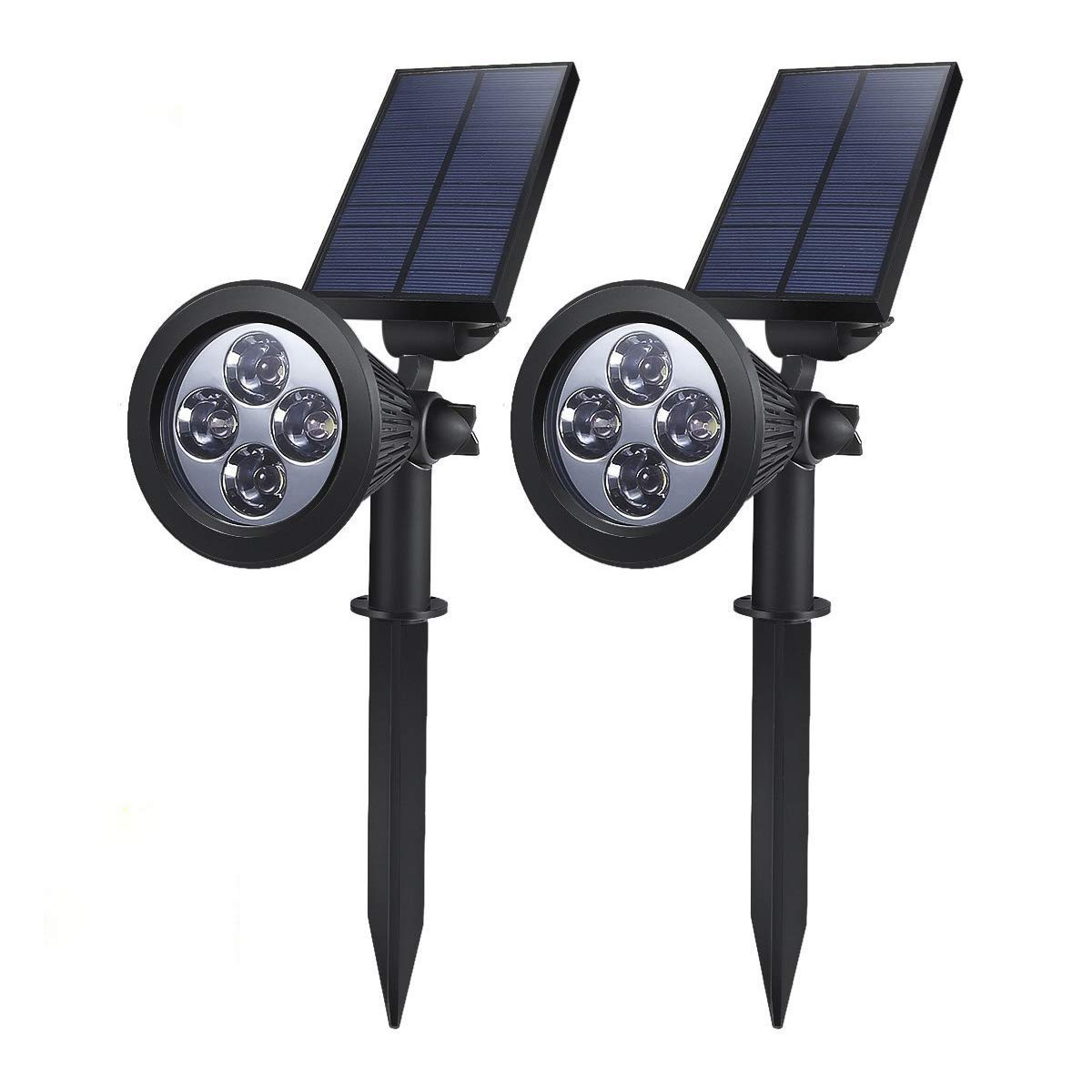Solar Powered LED Garden Spotlight, ProGreen 2-in-1 Waterproof 4 LED Solar Spotlight Adjustable Landscape Solar Lighting Wall Light for Outdoor Garden Decorations (2 Pack, 6000K Neutral White)