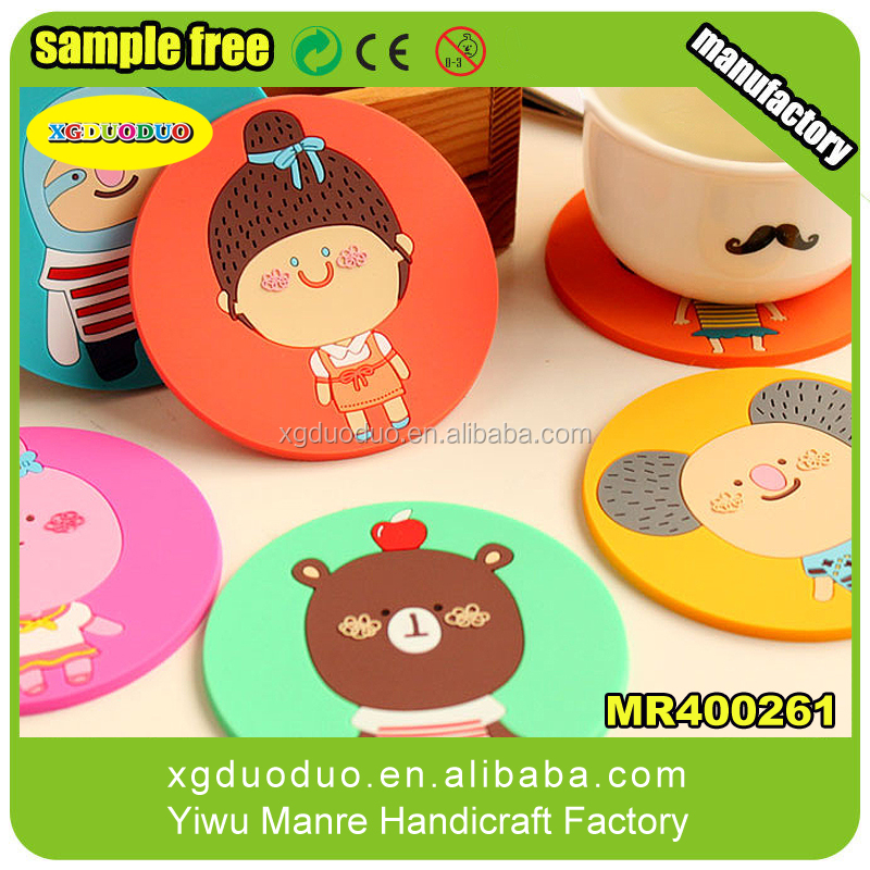ogo custom free shipping of coffee cup pad products 3d design embossed soft pvc coaster