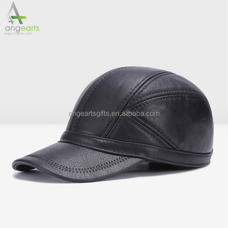black leather baseball cap wholesale faux with fur pom blank warmth