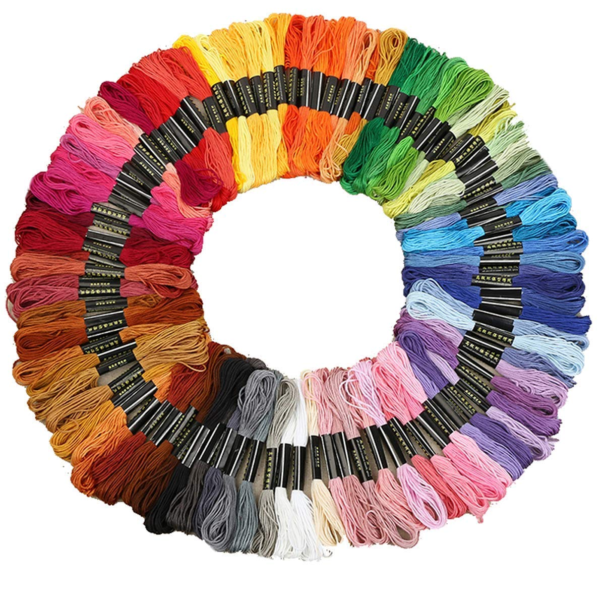 Aprince Cross Stitch Floss 100 Skeins Cotton Embroidery Thread DIY Rainbow Color Sewing Threads Friendship Bracelet Strings