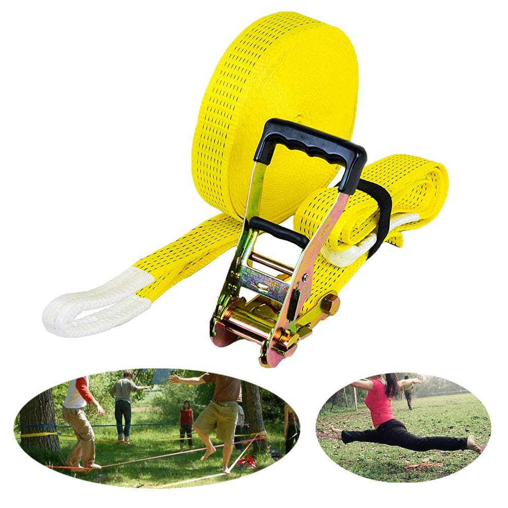 Ueasy Slackline Kit with 50ft Super Soft Nylon Rock Climbing Slack Line and Tree Protectors Ideal for Family Outdoor Healthy Fun Improves Your Sport Balance