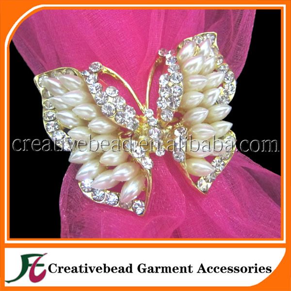Gold Plated Rhinestone Pearl Butterfly Napkin Ring Bulk Wholesale For Wedding