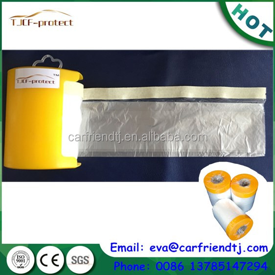 Spray auto paint masking film with crepe paper