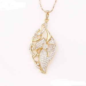 32419 Xuping Jewelry Copper Alloy Top quality Leaf Shaped Gold Color Pendant for Bridal Jewellery