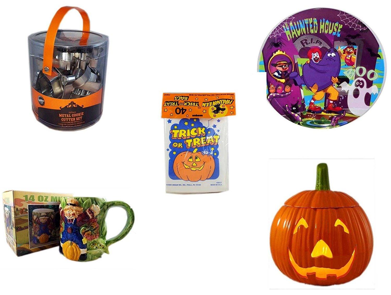 Halloween Fun Gift Bundle [5 piece] - Wilton Halloween Metal Cookie 18-Piece Cutter Set - McDonald's Haunted House, RIP, Boo Halloween Plate - Halloween Trick or Treat Bags 40/ct - Earthenware Scare