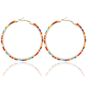 Large Circle Exaggerated Earring Multicolor Handmade Seed Beads Full Decorated Hoop Earring for Women