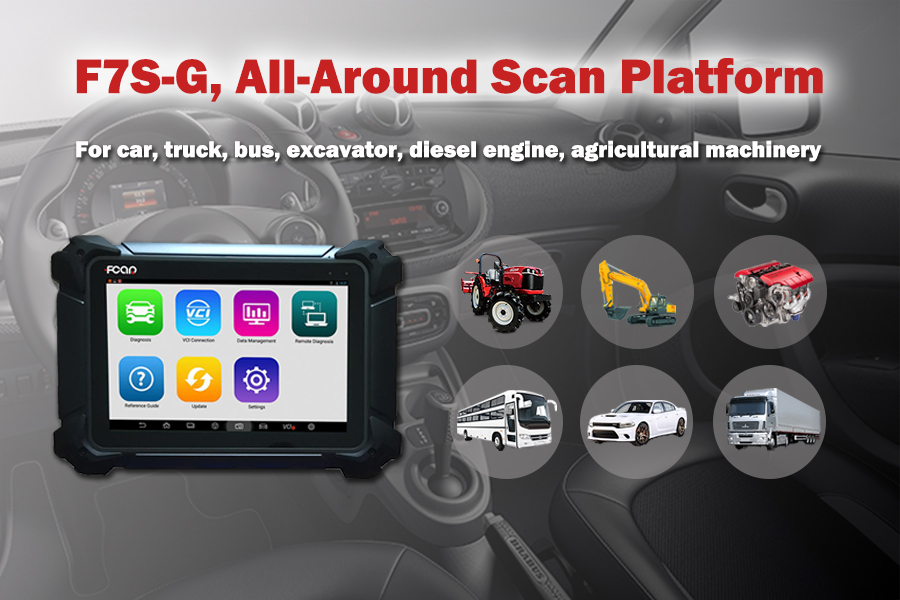 gasoline and diesel auto scanner FCAR F7S-G for 12V and 24V car, bus, truck, heavy-duty, remote technical support WiFi Bluetooth