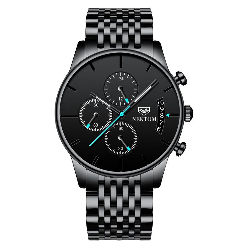 NEKTOM 8187 Men Business Wrist Watches Butterfly Snap Stainless Steel Strap Waterproof Calendar Quartz Luxury Chronograph Watch