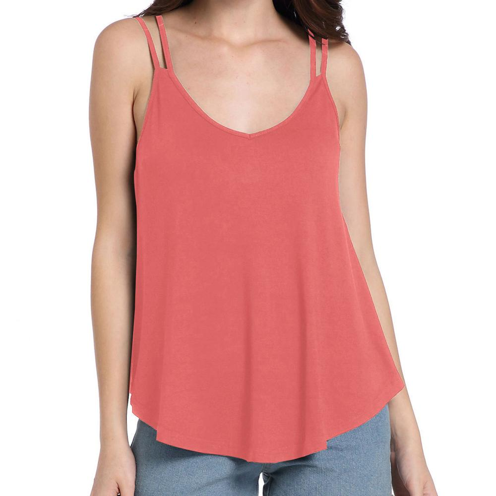 Appropriate Watermelon Red Slender Strap Sleeveless Tops Low Cut Best Ladoes Crop Top