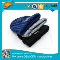 Knitting Acrylic Warm Beanie Hat With Patch