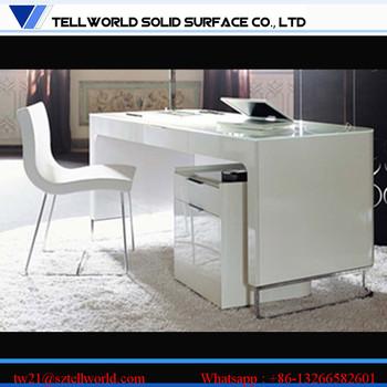 Best Office Table White High Glossy Custom Made Corian Design