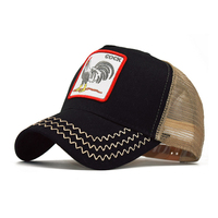 sublimation vintage embroidered mesh black animal truck trucker hat