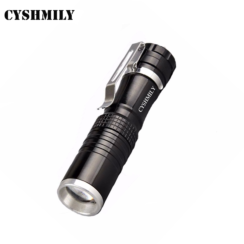 CYSHMILY Rechargeable 14500 Li-battery XML Q5 Mini Telescopic Tactical High Power Led Flashlight