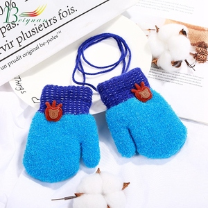 Winter Children Double-Layer Small Apple Cute Outdoor Sports Knit Gloves One Size Fits All Knitting Wholesale Kids Gloves
