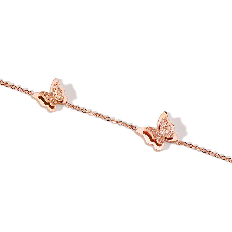 Sandblasted butterfly anklet beautiful bridal anklet