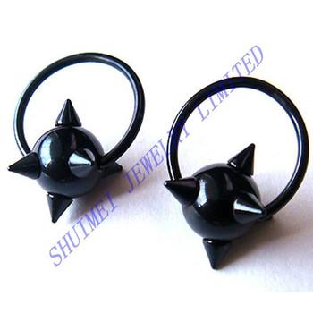 Black Titanium Plated Spike Captive Bead Ring Bcr Cbr Earring