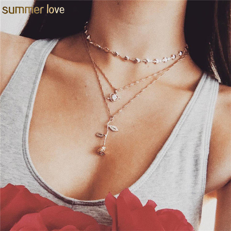 New Fashion Korea Heart Cupid Love Rose Flower Charm Layered Gold Plated Pendant Choker Necklace Set Jewelry for Women Girls