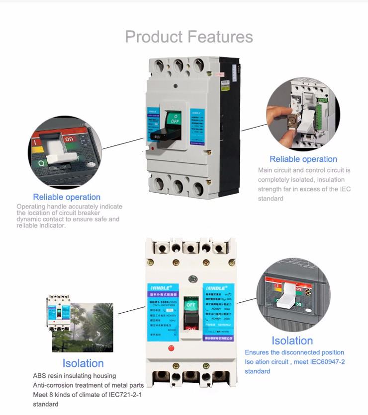 Electronic 85% Sliver Contact 400V / 690V 3P AC 3 Phase Mccb