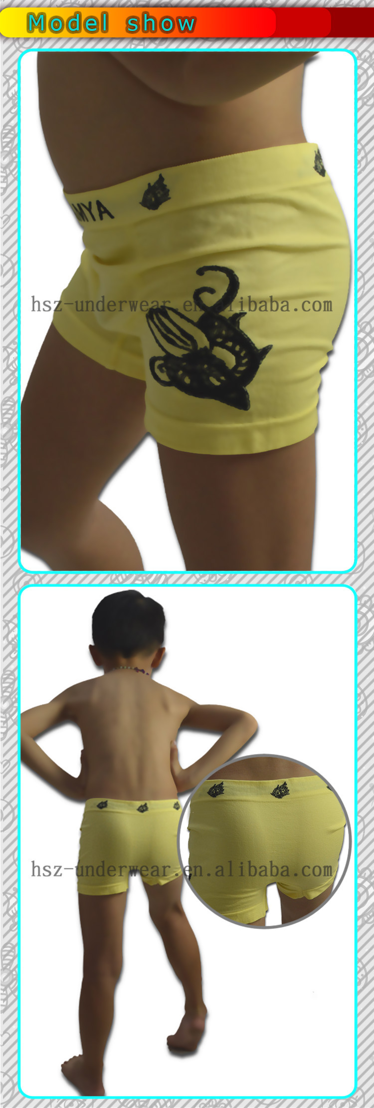 Factory price fashion boy cute seamless boxer kids underwear wholesale