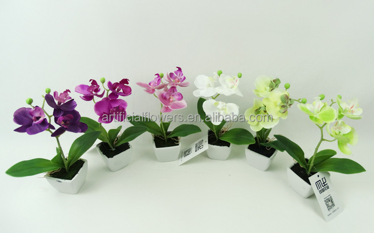 New Products Artificial mini orchid flower in white ceramic pot