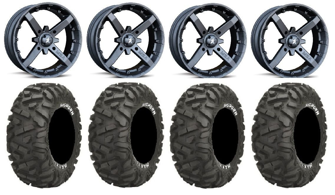 "Bundle - 9 Items: MSA Black Battle 14"" ATV Wheels 30"" BigHorn Tires [4x137 Bolt Pattern 12mmx1.25 Lug Kit]"