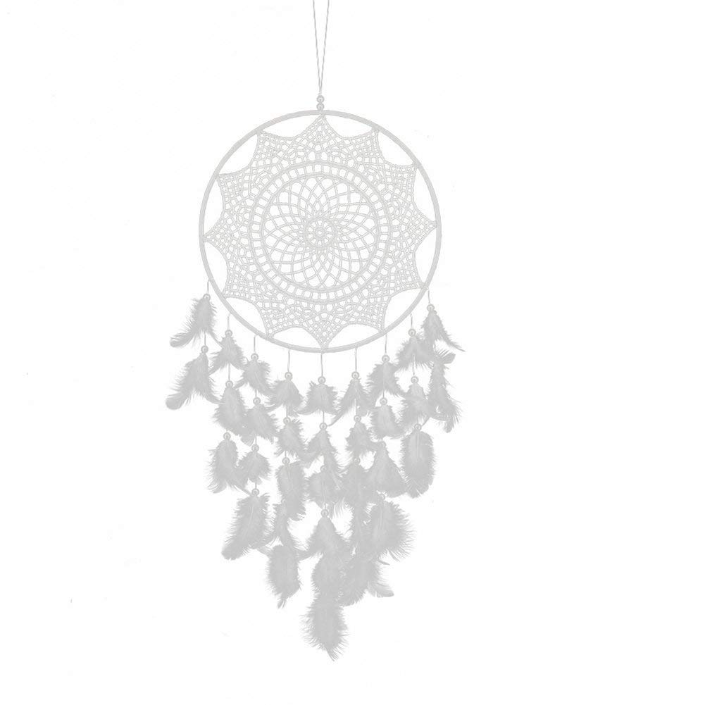 AkoMatial Handmade Dream Catcher-Hand Weaving White Feathers Flower Dream Catcher Home Cafe Wall Hanging Decor - White