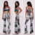 lady two-piece suit Tie Dye Matching Set 95% Rayon 5% Spandex tie and dye suits