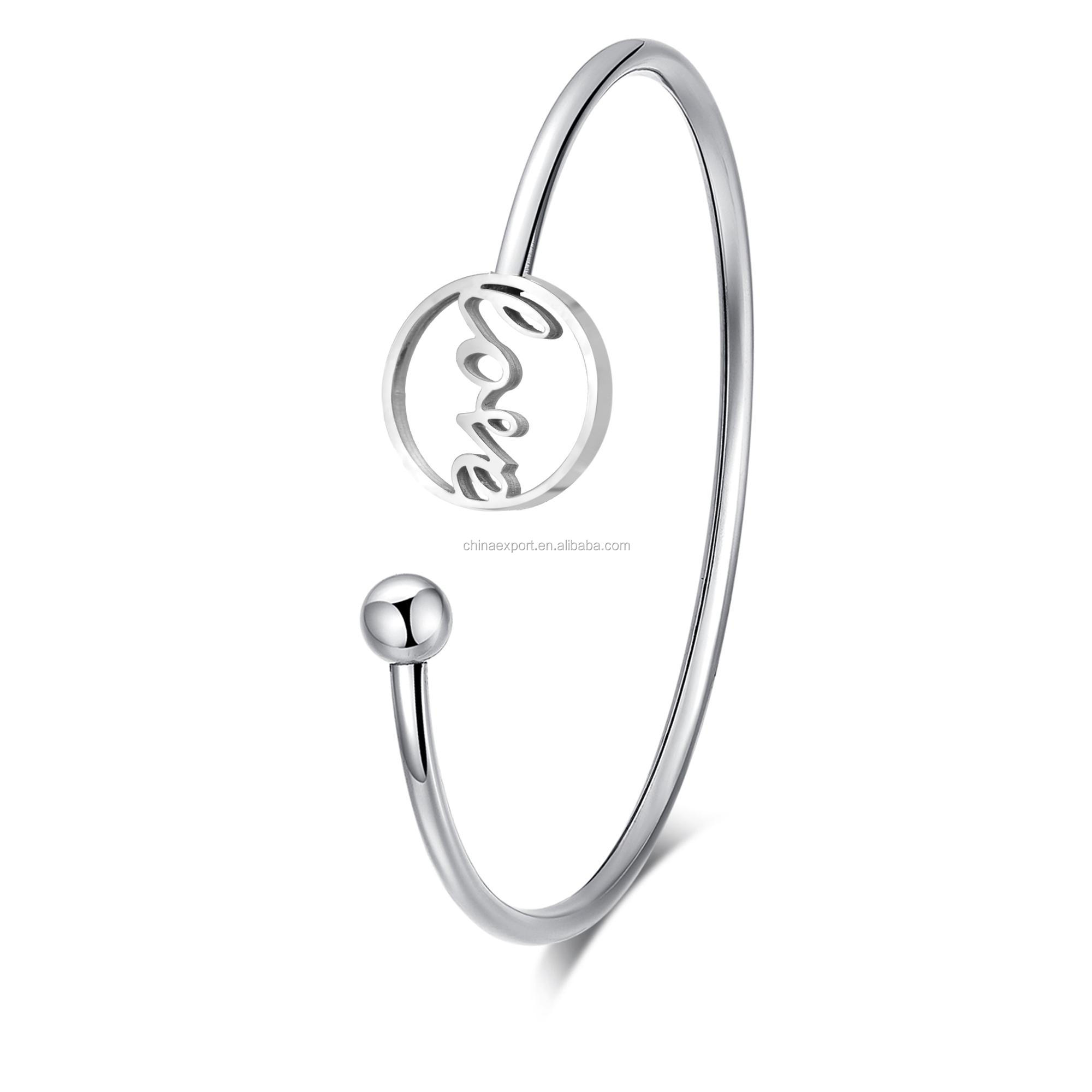 Stainless steel eternal love and ball rebound wire cuff bracelets for lady