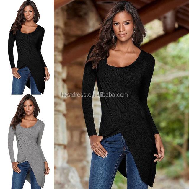 Women's Slim Long Sleeve Blouse Shirt Tunic Tops Casual Sports T-shirt Tee Shirt