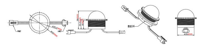 Waterproof DC12V UCS1903/WS2811 LED Amusement Light SMD 5050 36mm LED Pixel Light