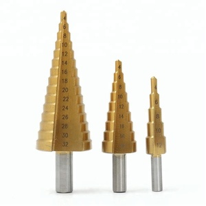 3 PC Set HSS Step Cone Drill Bits Titanium Coated(4-12mm, 4-20mm and 4-32 mm )Step Cone Drill Bits Design For Precision Drilling
