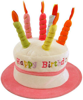 Happy Birthday 3D Cake Hat Candles Plush Novelty Mens Womens Party Funny Joke