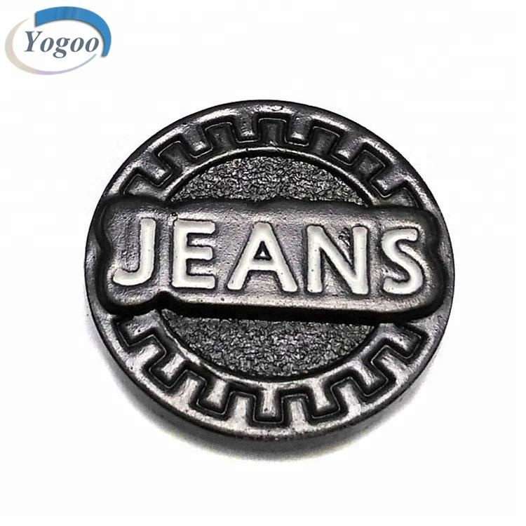 China Manufacture Custom Made Embossed Logo Round Shank Metal Jeans Buttons