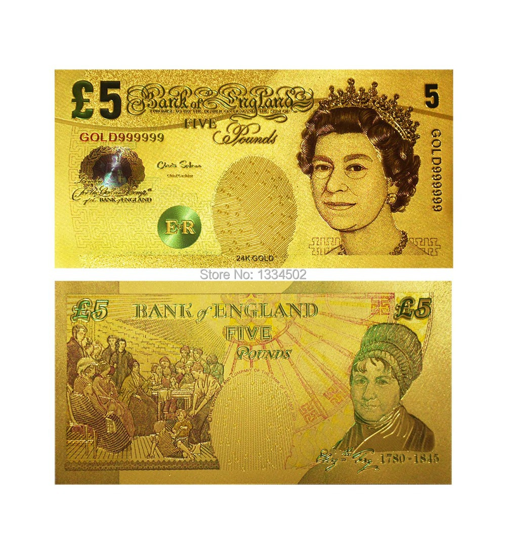 24K Colorful UK Gold Plated Banknote 5 Pound Gift British Queen in 3D NEW