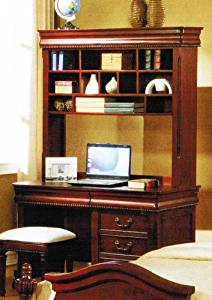 Writing Desk with Hutch Carved Accent in Cherry Finish