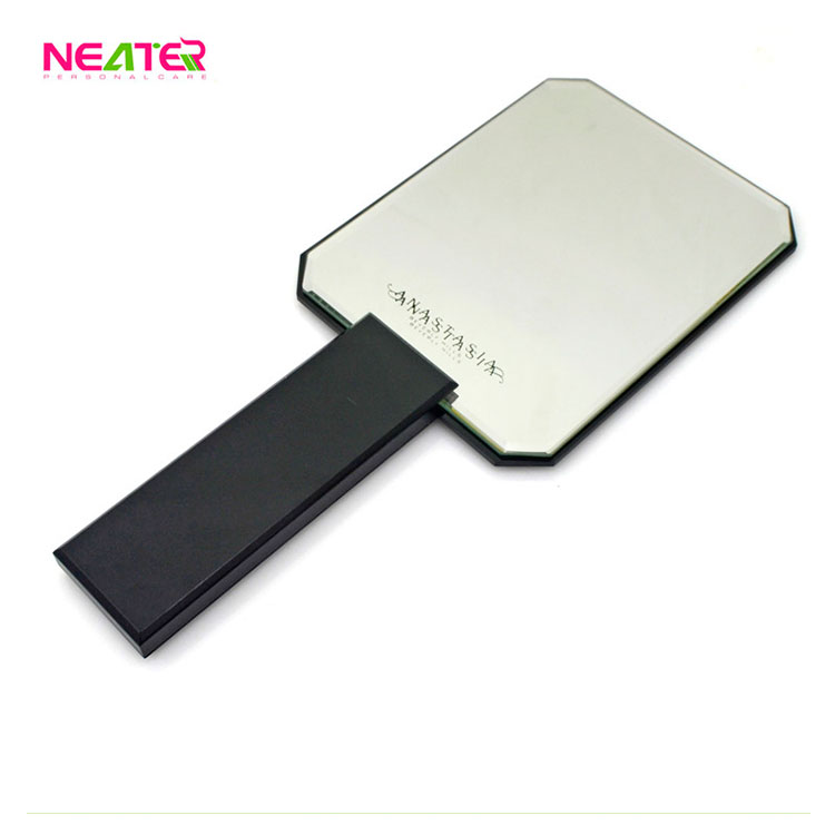 Customized Logo Beauty Square Plastic Frame Hand Held Mirror