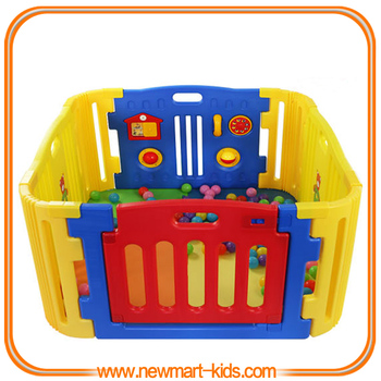 Foldable Plastic Baby Playpen Toddler Safety Monitor Gate Baby Play