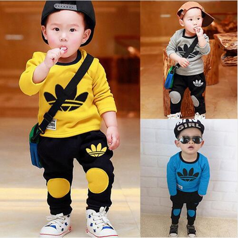 New Spring 2016 Boy and Girls Cartoon Letter Printed Clothing Clothing Set Kids Minnie Brand Sport