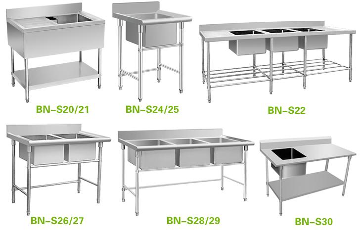 Industrial Kitchen Sink Double Stainless Steel Restaurant Sink Bns26