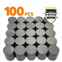 Tiny 18 mm (.709 inch) Round Disc - Flat Circle Magnets Bulk for Crafts, Science & hobbies 100 pcs Ceramic Magnets