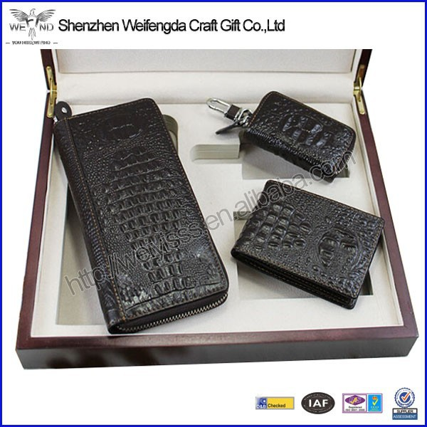 New arrival top grade genuine leather men gift set for car
