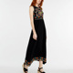 Woman Casual Design Sleeveless Rayon Embroidery Long Casual Dress