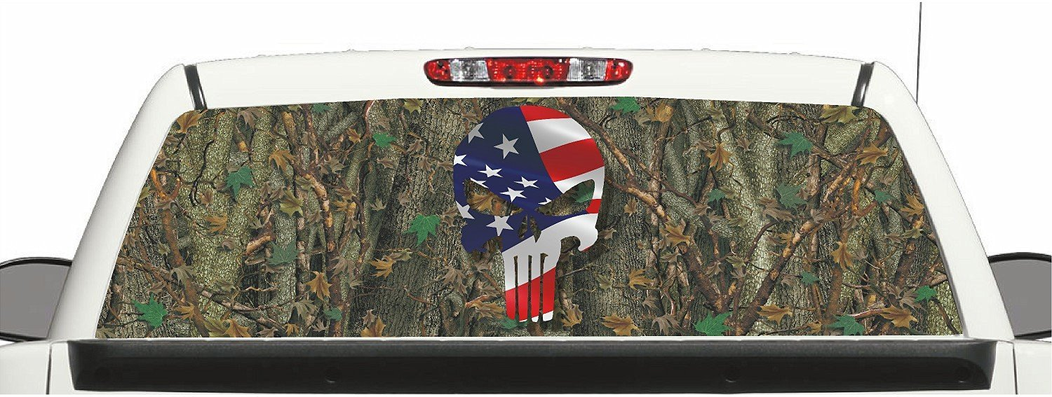 Grassland Camo Deer Skull Rear Window Graphic Decal Perforated Vinyl Wrap