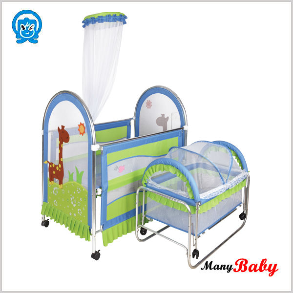 Hotsale good swinging design baby cribs babies sunflowers crib bedding set factory prices with wheels