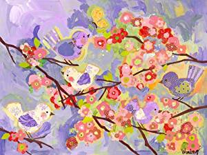 Oopsy daisy cherry blossom birdies lavender and coral stretched canvas wall art by winborg sisters, 24 by 18-inch by Oopsy Daisy