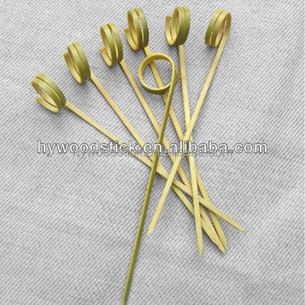 Different Shape Natural Bamboo Fruit Picks Looped Flower Sticks/Skewers