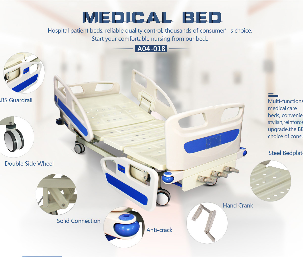 sale bed hospital medical steel furniture stainless cranks manual with