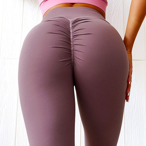 Wholesale hot sexy girls tight tummy control high waist women butt scrunch fitness set legging gym sport yoga pants