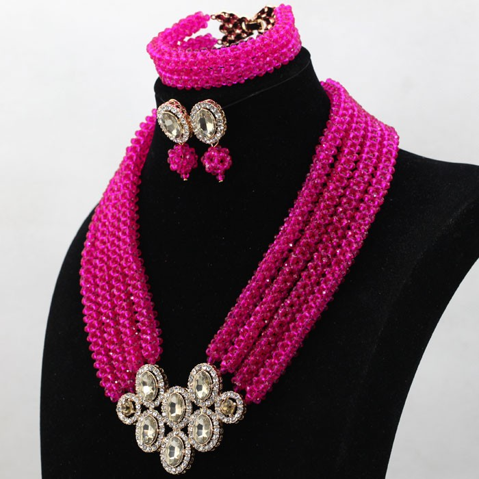 2016 Fashion fuchsia color african crystal beads jewelry sets 4 layers wedding beads jewellery for women