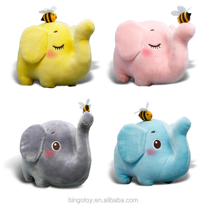 high quality wholesale stuffed soft toy big ears pink plush elephant/plush big ears elephant toy with bee ,stuffed plush toy